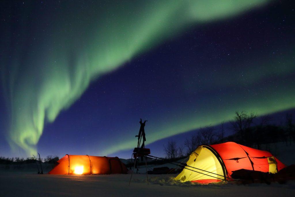 Pöyrisjäven erämaa, Lemmenjoen kansallispuisto, revontulet