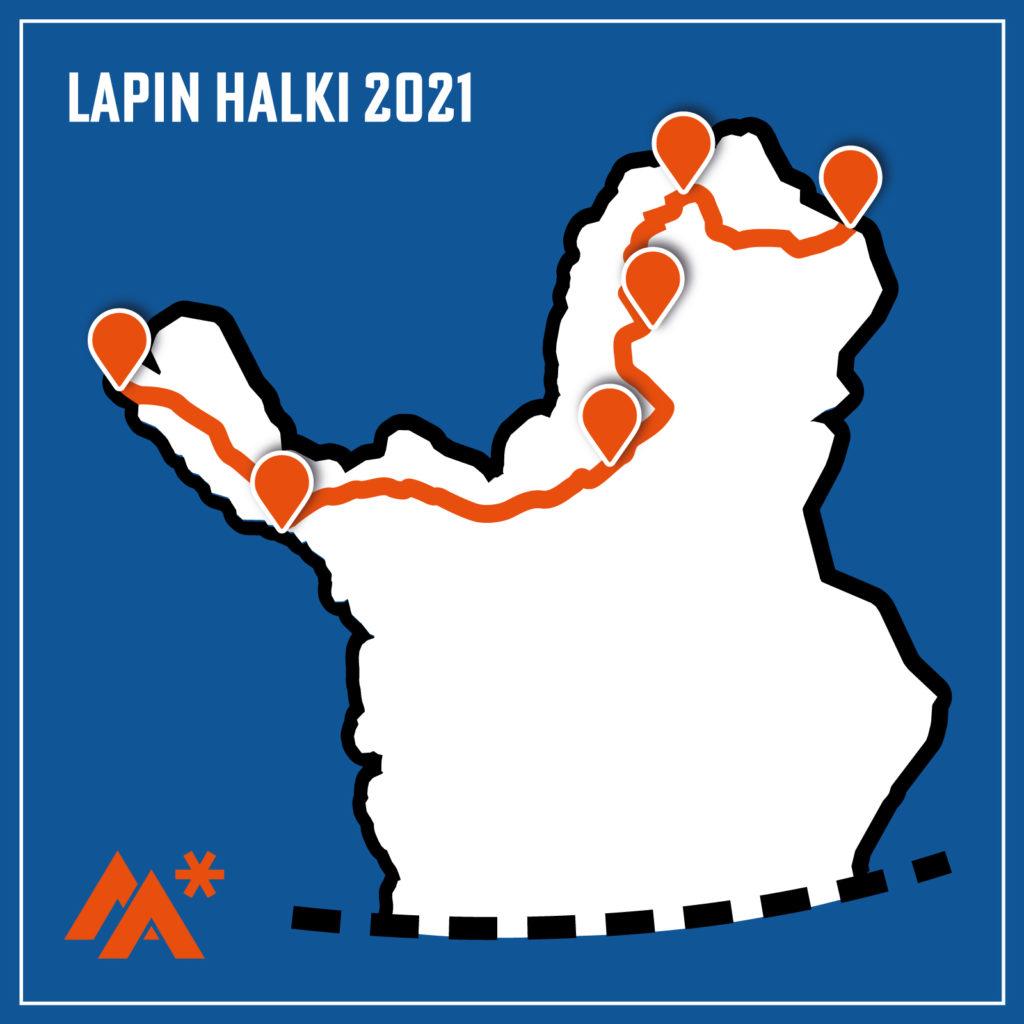 Hiihtovaellus Lapin halki viidessä etapissa